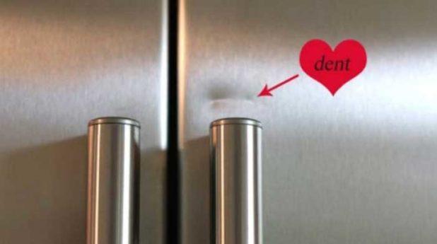 Устранение вмятин на холодильнике
